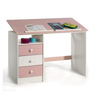 Bureau enfant 3 tiroirs 1 casier plateau inclinable pin massif lasuré blanc rose