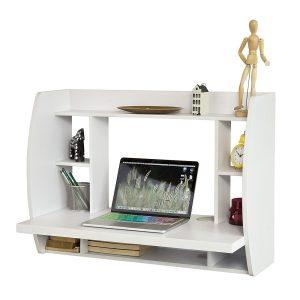 Table murale bureau avec étagère intégrée