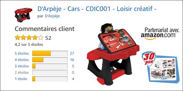 Avis et notation du bureau pupitre cars pour enfant