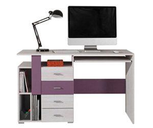 Bureau en pin blanchi et lilas Emilian