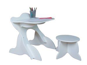Table enfant blanche et son tabouret